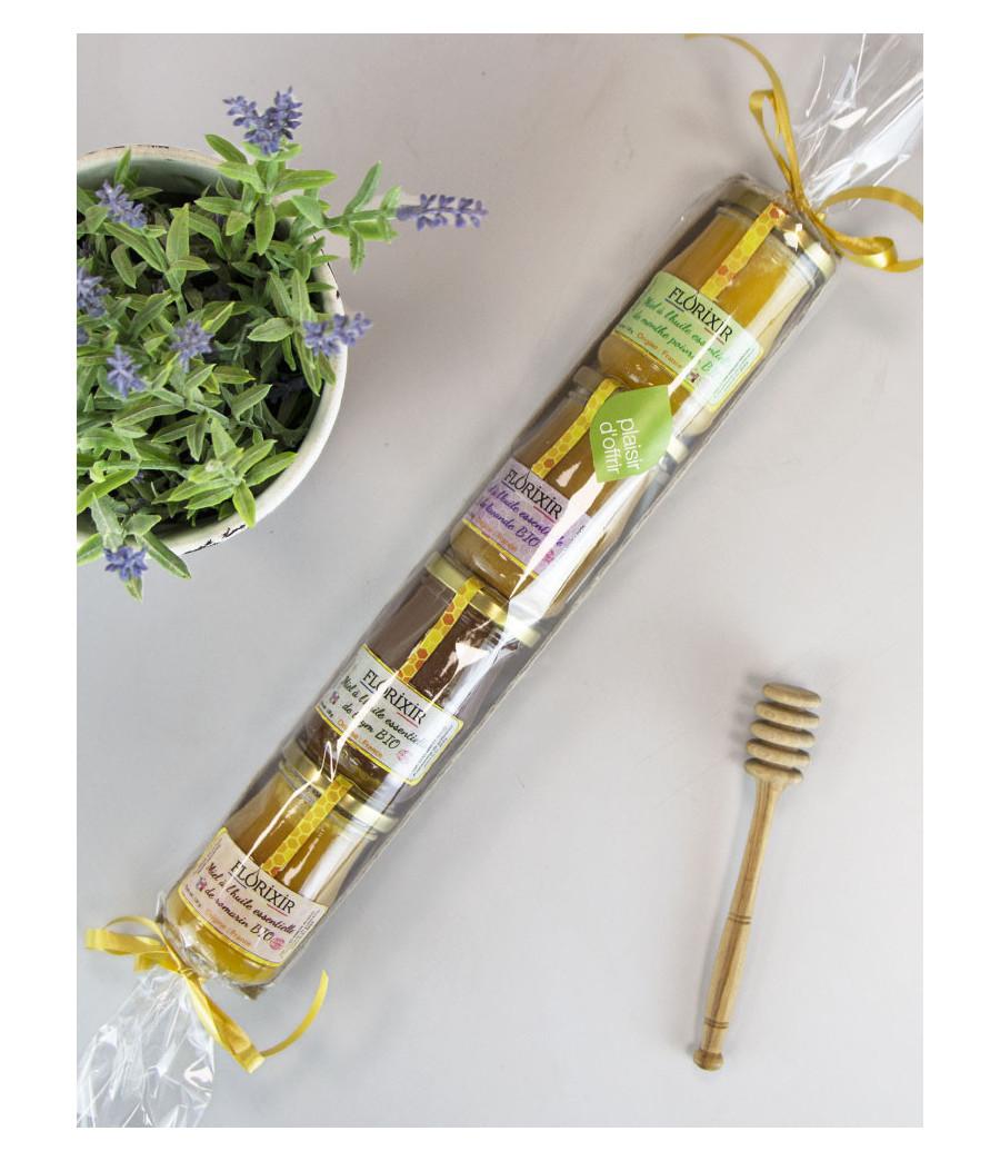 Coffret 4 miels aux huiles essentielles
